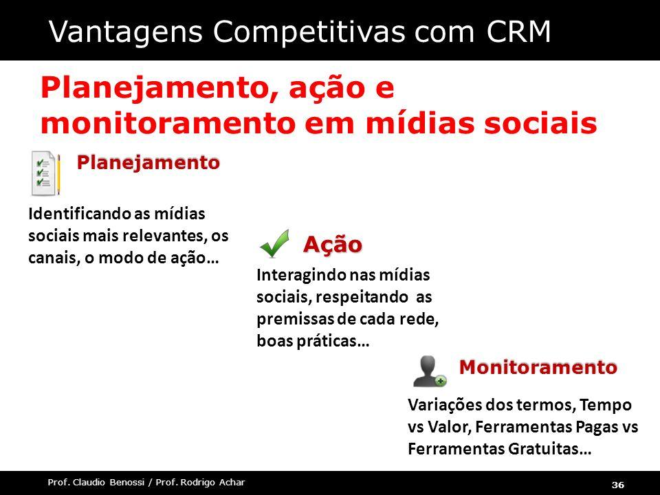 36 Prof. Claudio Benossi / Prof. Rodrigo Achar Planejamento, ação e monitoramento em mídias sociaisAção Interagindo nas mídias sociais, respeitando as