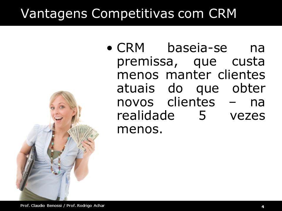 4 Prof. Claudio Benossi / Prof. Rodrigo Achar CRM baseia-se na premissa, que custa menos manter clientes atuais do que obter novos clientes – na reali
