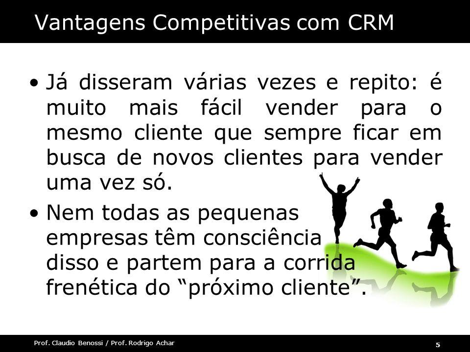 5 Prof. Claudio Benossi / Prof. Rodrigo Achar Já disseram várias vezes e repito: é muito mais fácil vender para o mesmo cliente que sempre ficar em bu