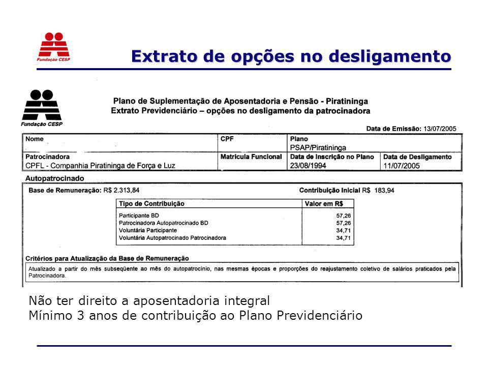 Extrato de opções no desligamento Não ter direito a aposentadoria integral Mínimo 3 anos de contribuição ao Plano Previdenciário
