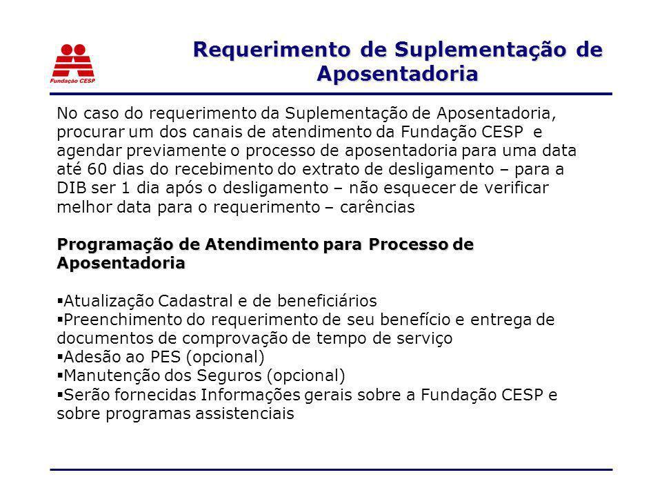 No caso do requerimento da Suplementação de Aposentadoria, procurar um dos canais de atendimento da Fundação CESP e agendar previamente o processo de