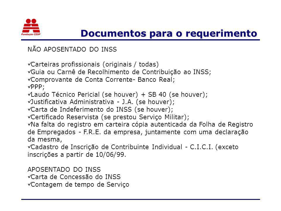 NÃO APOSENTADO DO INSS Carteiras profissionais (originais / todas) Guia ou Carnê de Recolhimento de Contribuição ao INSS; Comprovante de Conta Corrent