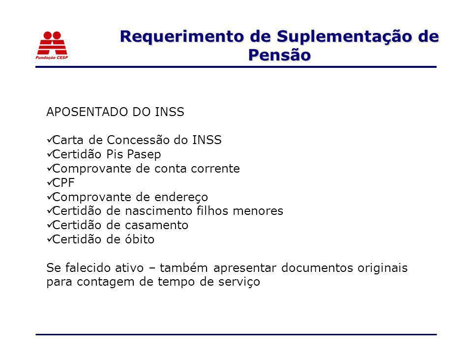 APOSENTADO DO INSS Carta de Concessão do INSS Certidão Pis Pasep Comprovante de conta corrente CPF Comprovante de endereço Certidão de nascimento filh