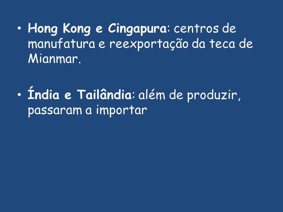 Hong Kong e Cingapura: centros de manufatura e reexportação da teca de Mianmar.