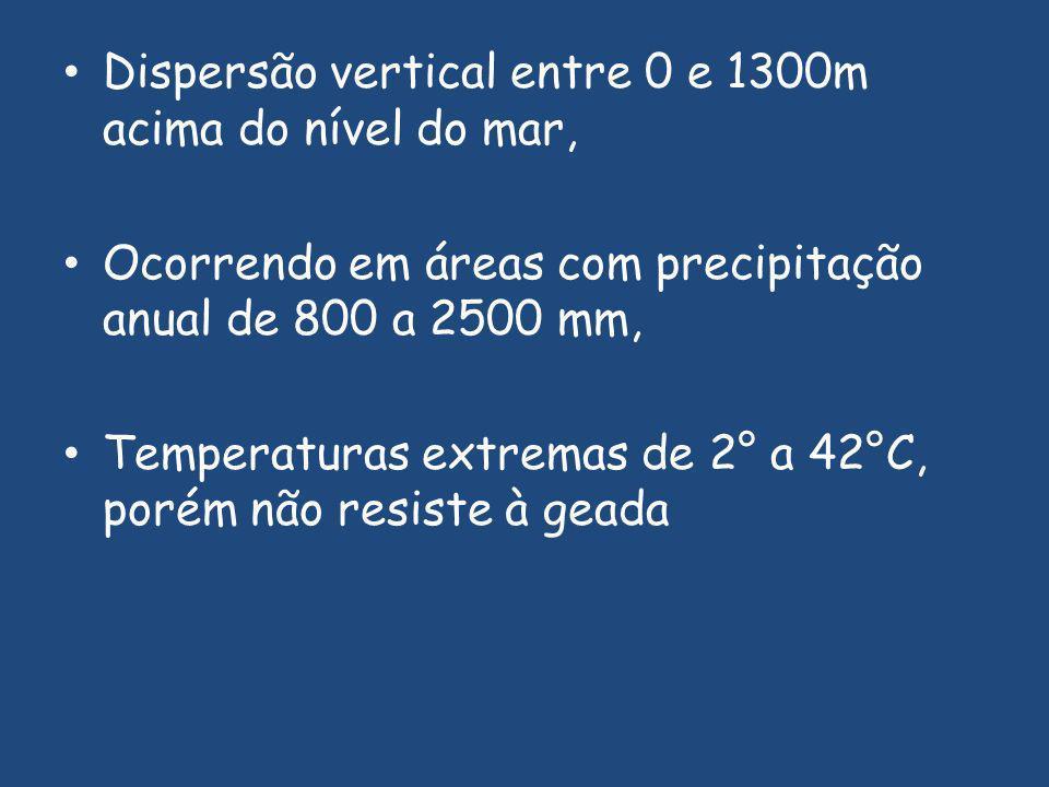Dispersão vertical entre 0 e 1300m acima do nível do mar, Ocorrendo em áreas com precipitação anual de 800 a 2500 mm, Temperaturas extremas de 2° a 42°C, porém não resiste à geada