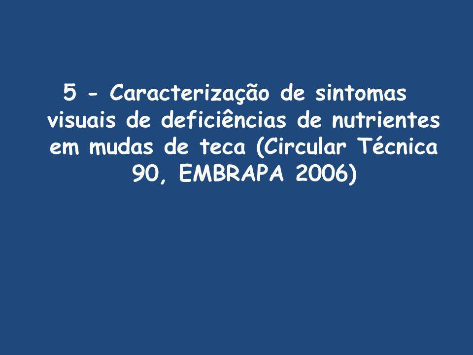 5 - Caracterização de sintomas visuais de deficiências de nutrientes em mudas de teca (Circular Técnica 90, EMBRAPA 2006)