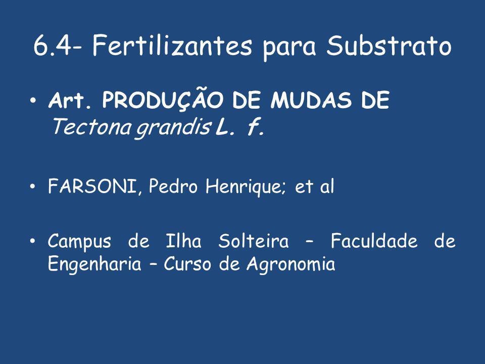 6.4- Fertilizantes para Substrato Art.PRODUÇÃO DE MUDAS DE Tectona grandis L.
