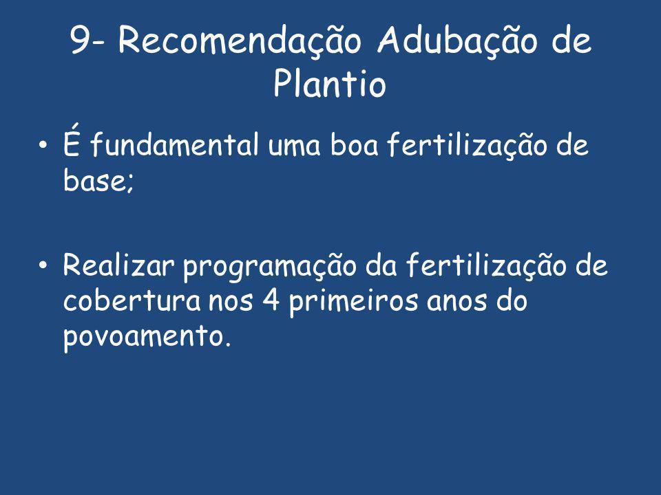 9- Recomendação Adubação de Plantio É fundamental uma boa fertilização de base; Realizar programação da fertilização de cobertura nos 4 primeiros anos do povoamento.