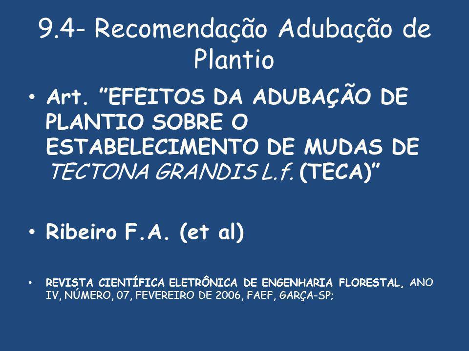 9.4- Recomendação Adubação de Plantio Art.