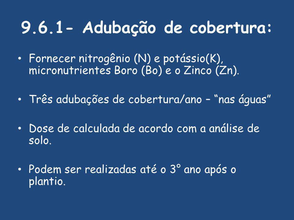 9.6.1- Adubação de cobertura: Fornecer nitrogênio (N) e potássio(K), micronutrientes Boro (Bo) e o Zinco (Zn).