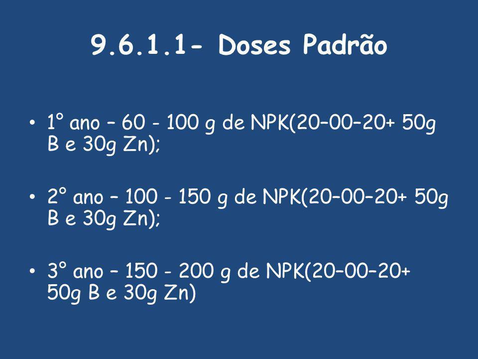 9.6.1.1- Doses Padrão 1° ano – 60 - 100 g de NPK(20–00–20+ 50g B e 30g Zn); 2° ano – 100 - 150 g de NPK(20–00–20+ 50g B e 30g Zn); 3° ano – 150 - 200 g de NPK(20–00–20+ 50g B e 30g Zn)