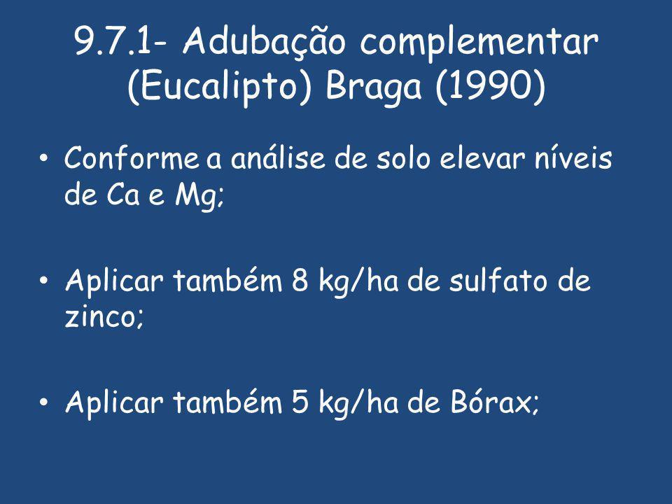 9.7.1- Adubação complementar (Eucalipto) Braga (1990) Conforme a análise de solo elevar níveis de Ca e Mg; Aplicar também 8 kg/ha de sulfato de zinco; Aplicar também 5 kg/ha de Bórax;