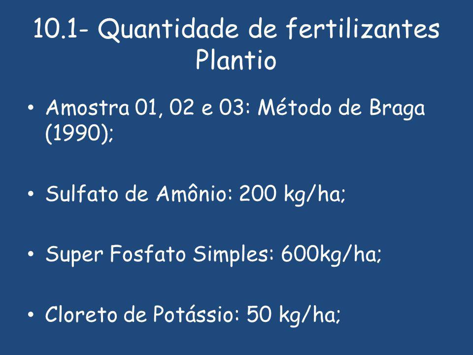 10.1- Quantidade de fertilizantes Plantio Amostra 01, 02 e 03: Método de Braga (1990); Sulfato de Amônio: 200 kg/ha; Super Fosfato Simples: 600kg/ha; Cloreto de Potássio: 50 kg/ha;