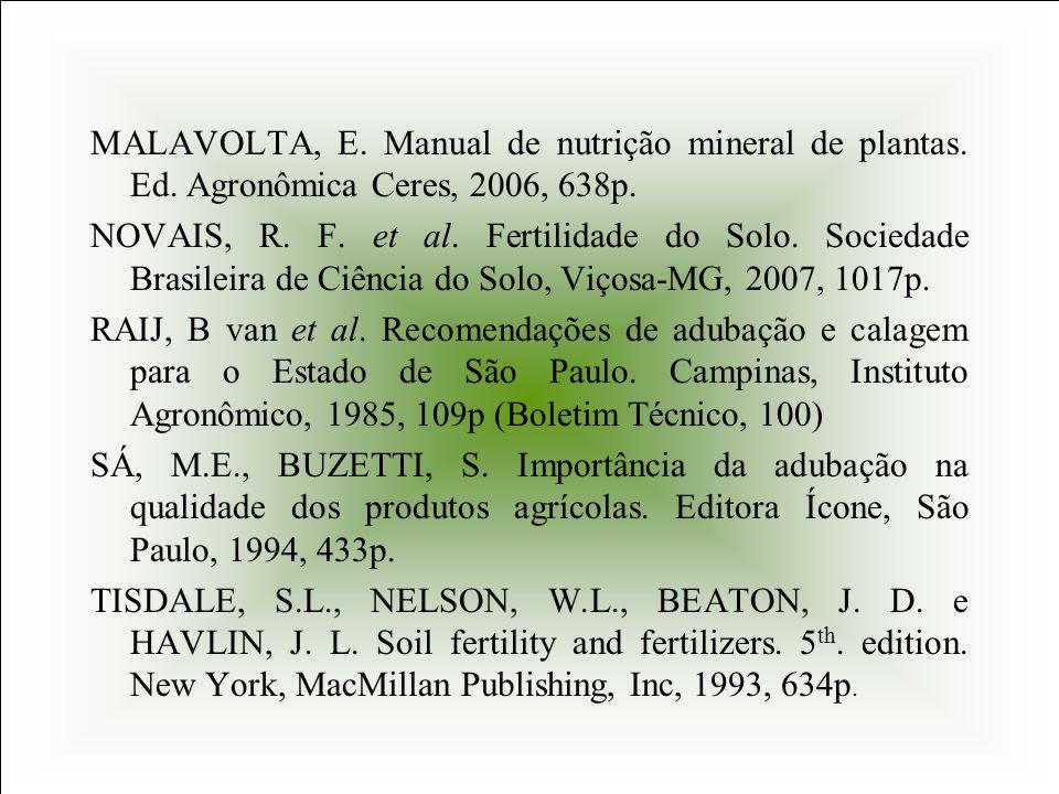 MALAVOLTA, E. Manual de nutrição mineral de plantas. Ed. Agronômica Ceres, 2006, 638p. NOVAIS, R. F. et al. Fertilidade do Solo. Sociedade Brasileira