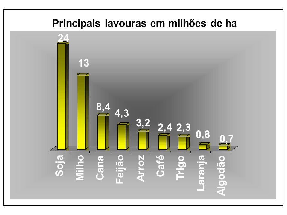 24 13 8,4 4,3 3,2 2,42,3 0,8 0,7 Soja Milho Cana Feijão Arroz Café Trigo Laranja Algodão Principais lavouras em milhões de ha