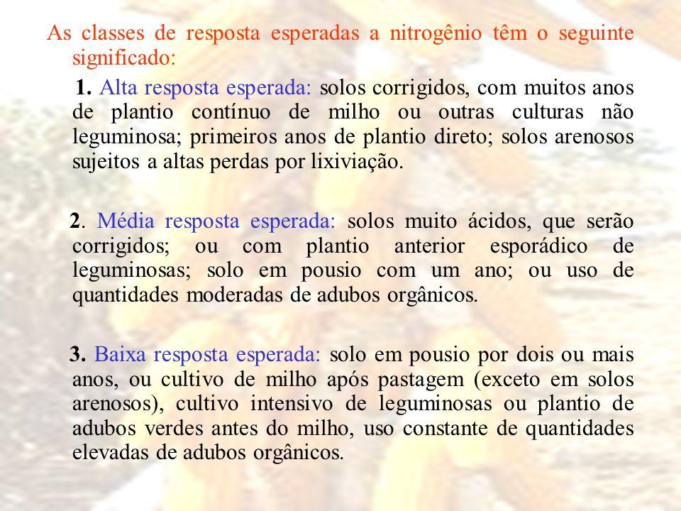 As classes de resposta esperadas a nitrogênio têm o seguinte significado: 1. Alta resposta esperada: solos corrigidos, com muitos anos de plantio cont