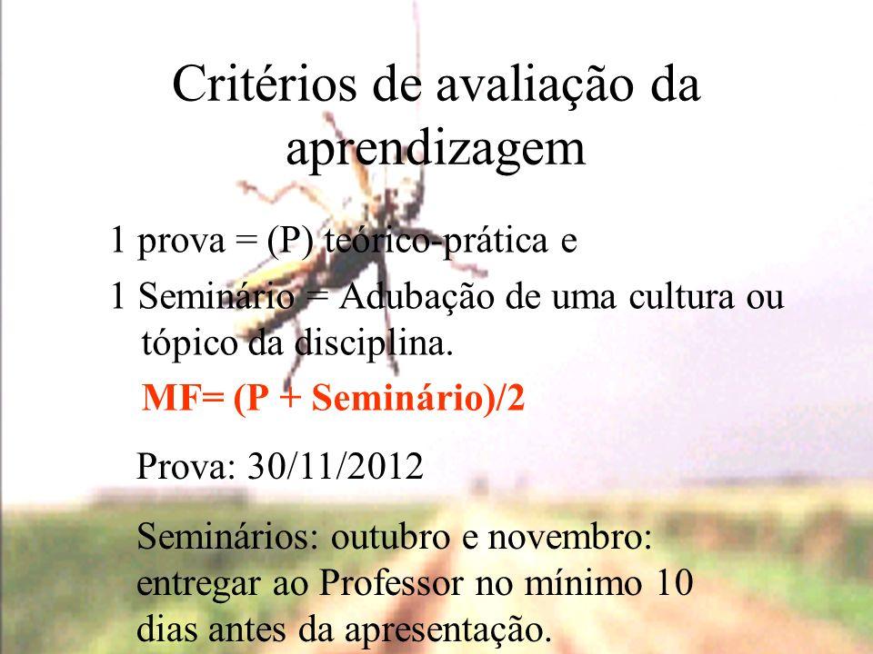 Critérios de avaliação da aprendizagem 1 prova = (P) teórico-prática e 1 Seminário = Adubação de uma cultura ou tópico da disciplina. MF= (P + Seminár