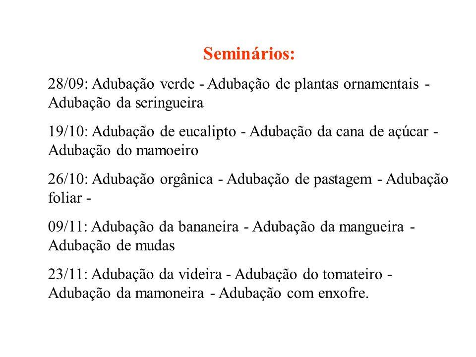 Seminários: 28/09: Adubação verde - Adubação de plantas ornamentais - Adubação da seringueira 19/10: Adubação de eucalipto - Adubação da cana de açúca