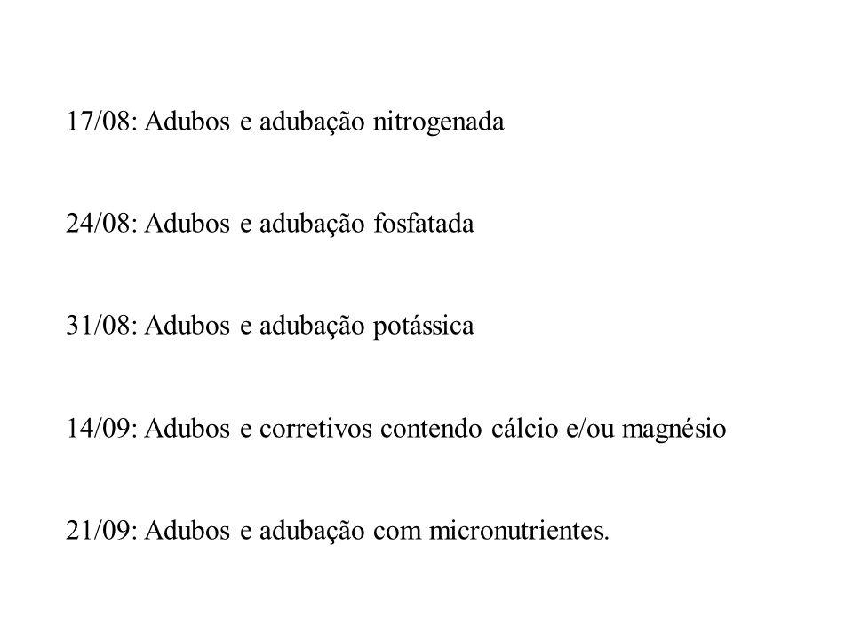 17/08: Adubos e adubação nitrogenada 24/08: Adubos e adubação fosfatada 31/08: Adubos e adubação potássica 14/09: Adubos e corretivos contendo cálcio