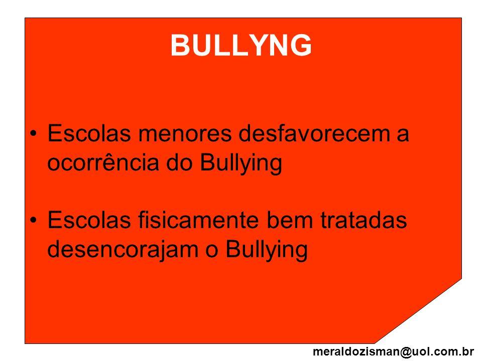 BULLYNG Escolas menores desfavorecem a ocorrência do Bullying Escolas fisicamente bem tratadas desencorajam o Bullying meraldozisman@uol.com.br