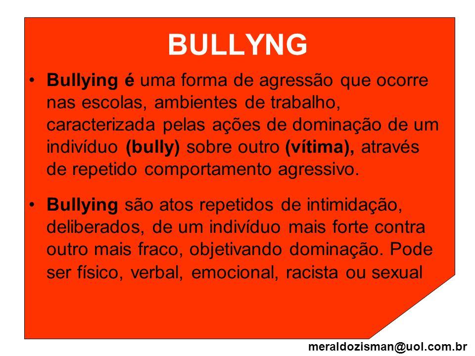 BULLYNG Bullying é uma forma de agressão que ocorre nas escolas, ambientes de trabalho, caracterizada pelas ações de dominação de um indivíduo (bully)