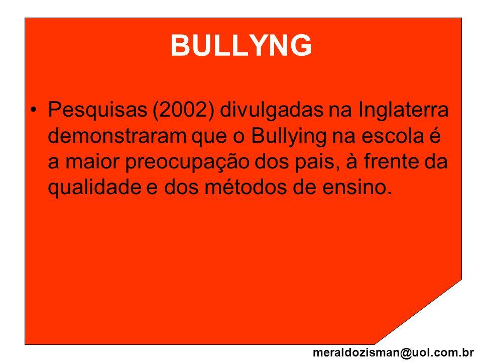 BULLYNG Pesquisas (2002) divulgadas na Inglaterra demonstraram que o Bullying na escola é a maior preocupação dos pais, à frente da qualidade e dos mé
