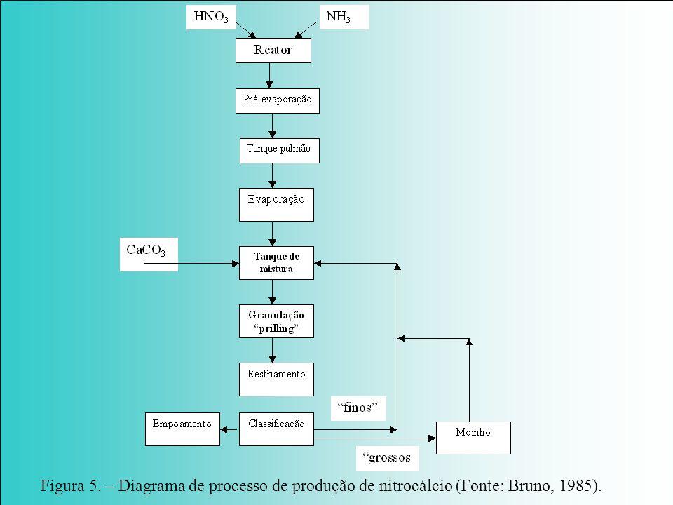 Figura 5. – Diagrama de processo de produção de nitrocálcio (Fonte: Bruno, 1985).