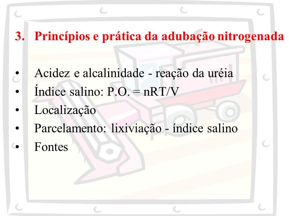 3.Princípios e prática da adubação nitrogenada Acidez e alcalinidade - reação da uréia Índice salino: P.O. = nRT/V Localização Parcelamento: lixiviaçã