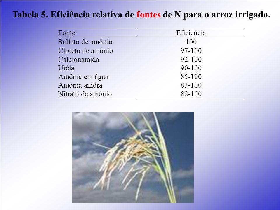 Tabela 5. Eficiência relativa de fontes de N para o arroz irrigado. Fonte Eficiência Sulfato de amônio Cloreto de amônio Calcionamida Uréia Amônia em
