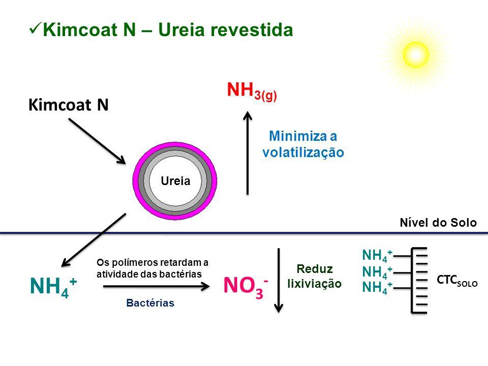 Kimcoat N Minimiza a volatilização Nível do Solo NH 3(g) Kimcoat N – Ureia revestida NH 4 + CTC SOLO NH 4 + NO 3 - NH 4 + Bactérias Os polímeros retar