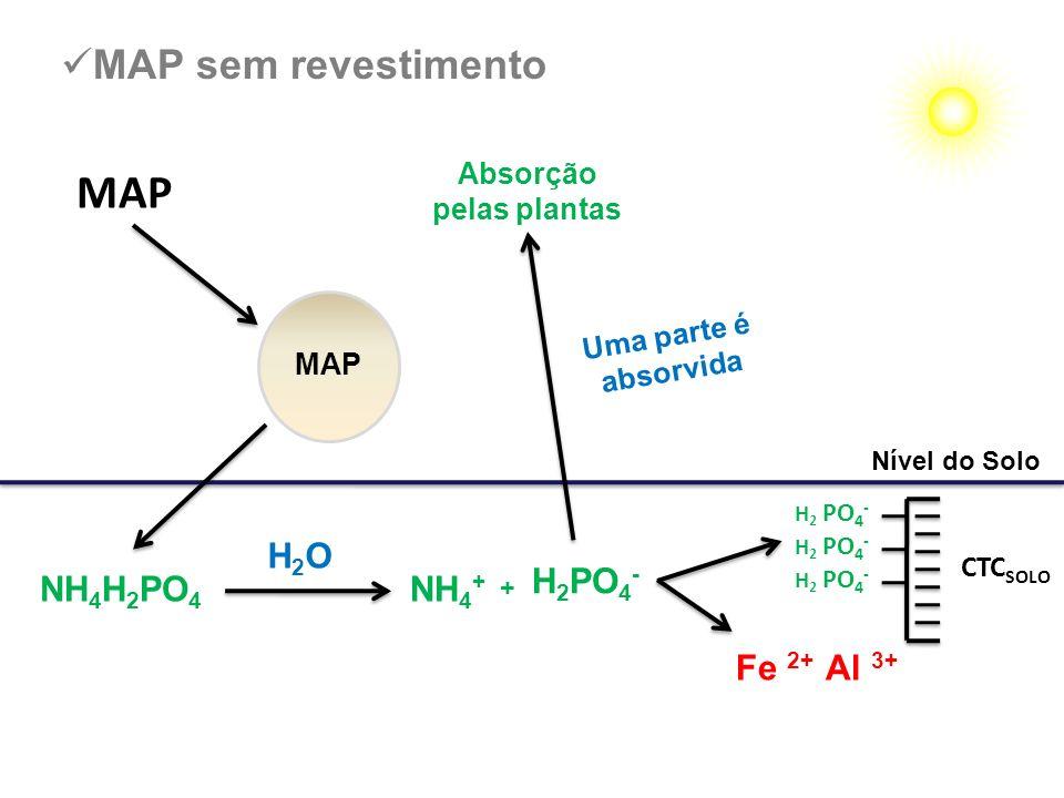 MAP Uma parte é absorvida Nível do Solo MAP sem revestimento NH 4 H 2 PO 4 H 2 PO 4 - CTC SOLO H 2 PO 4 - H2OH2O NH 4 + + Fe 2+ Al 3+ Absorção pelas p