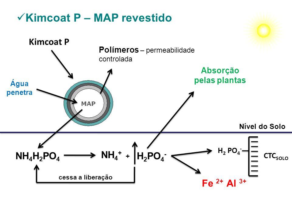 Kimcoat P Nível do Solo Kimcoat P – MAP revestido NH 4 H 2 PO 4 H 2 PO 4 - CTC SOLO H 2 PO 4 - Água penetra NH 4 + + Fe 2+ Al 3+ Polímeros – permeabil