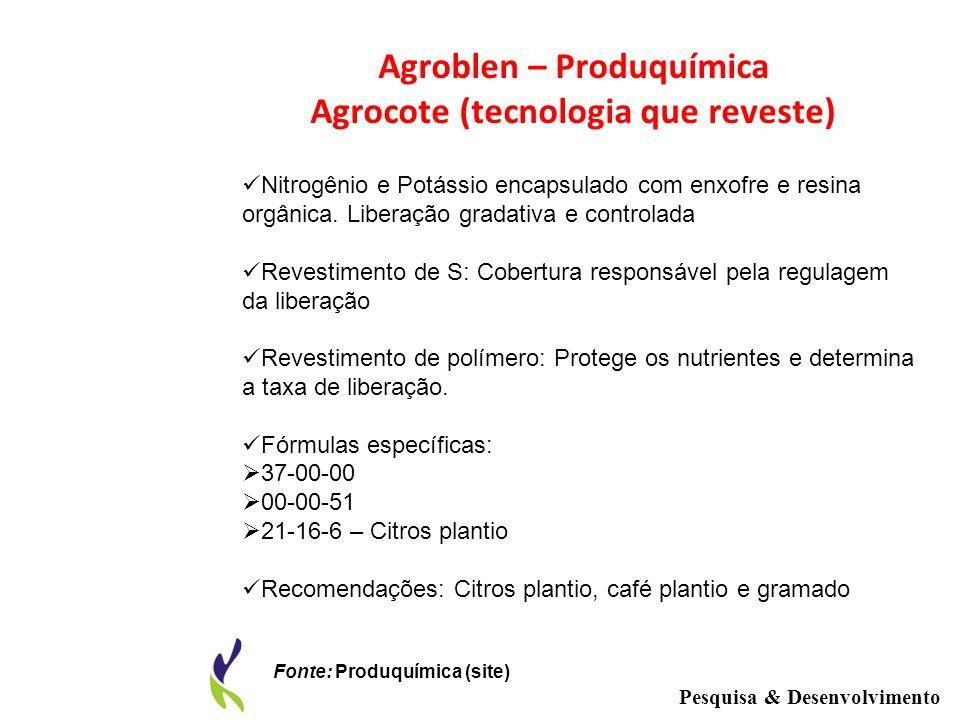 Agroblen – Produquímica Agrocote (tecnologia que reveste) Nitrogênio e Potássio encapsulado com enxofre e resina orgânica. Liberação gradativa e contr