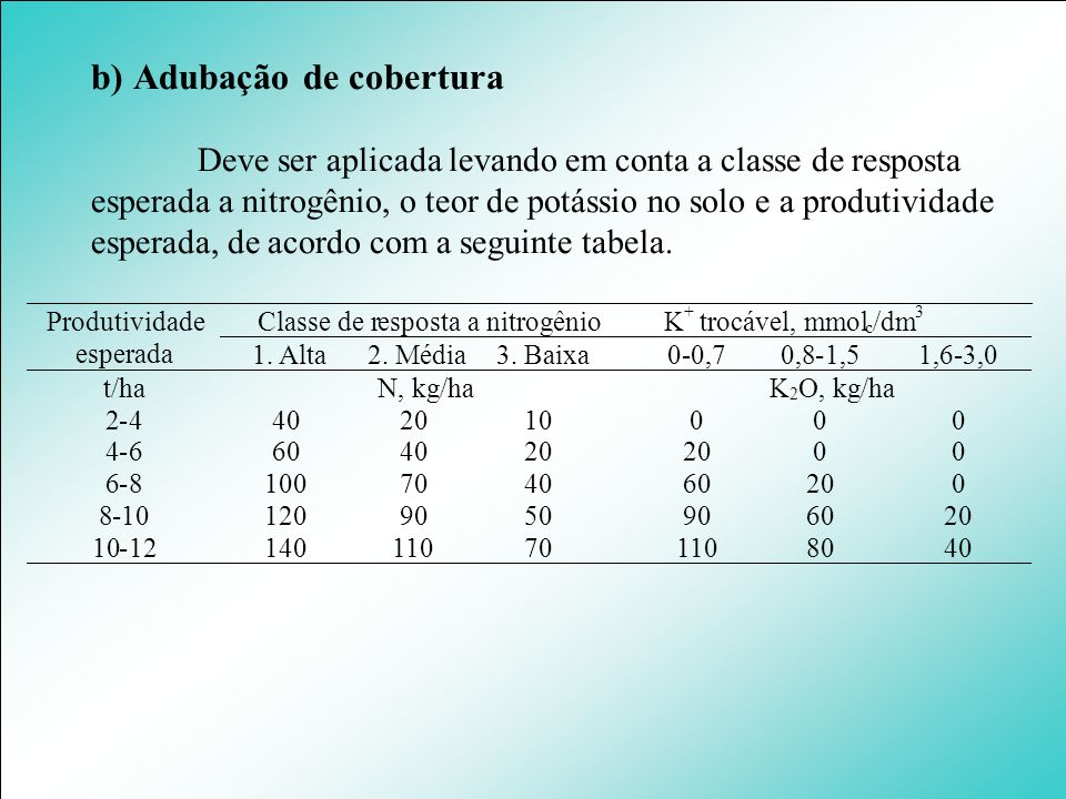 b) Adubação de cobertura Deve ser aplicada levando em conta a classe de resposta esperada a nitrogênio, o teor de potássio no solo e a produtividade e
