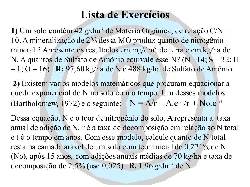 Lista de Exercícios 1) Um solo contém 42 g/dm 3 de Matéria Orgânica, de relação C/N = 10. A mineralização de 2% dessa MO produz quanto de nitrogênio m