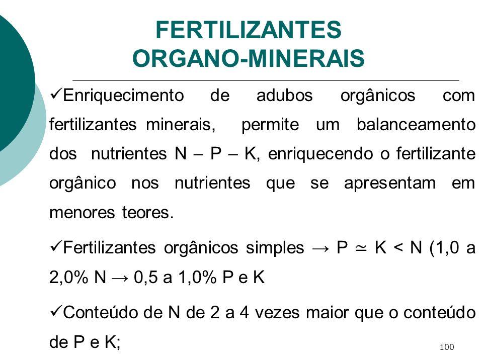 100 FERTILIZANTES ORGANO-MINERAIS Enriquecimento de adubos orgânicos com fertilizantes minerais, permite um balanceamento dos nutrientes N – P – K, en
