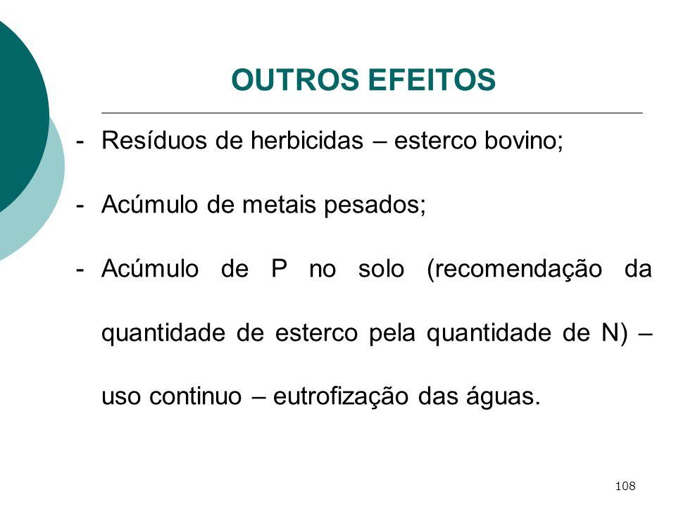 108 OUTROS EFEITOS -Resíduos de herbicidas – esterco bovino; -Acúmulo de metais pesados; -Acúmulo de P no solo (recomendação da quantidade de esterco