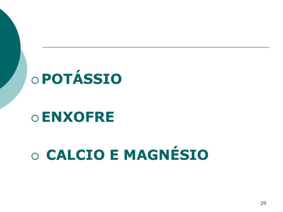 29 POTÁSSIO ENXOFRE CALCIO E MAGNÉSIO