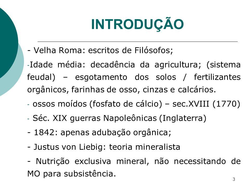 3 INTRODUÇÃO - Velha Roma: escritos de Filósofos; - Idade média: decadência da agricultura; (sistema feudal) – esgotamento dos solos / fertilizantes o