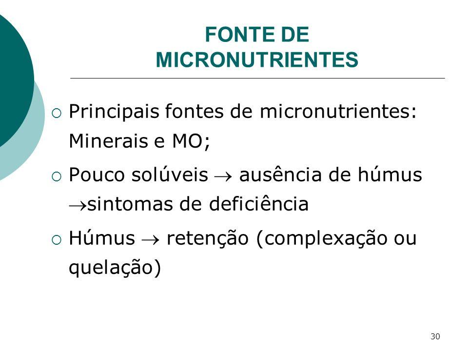 30 Principais fontes de micronutrientes: Minerais e MO; Pouco solúveis ausência de húmussintomas de deficiência Húmus retenção (complexação ou quelaçã