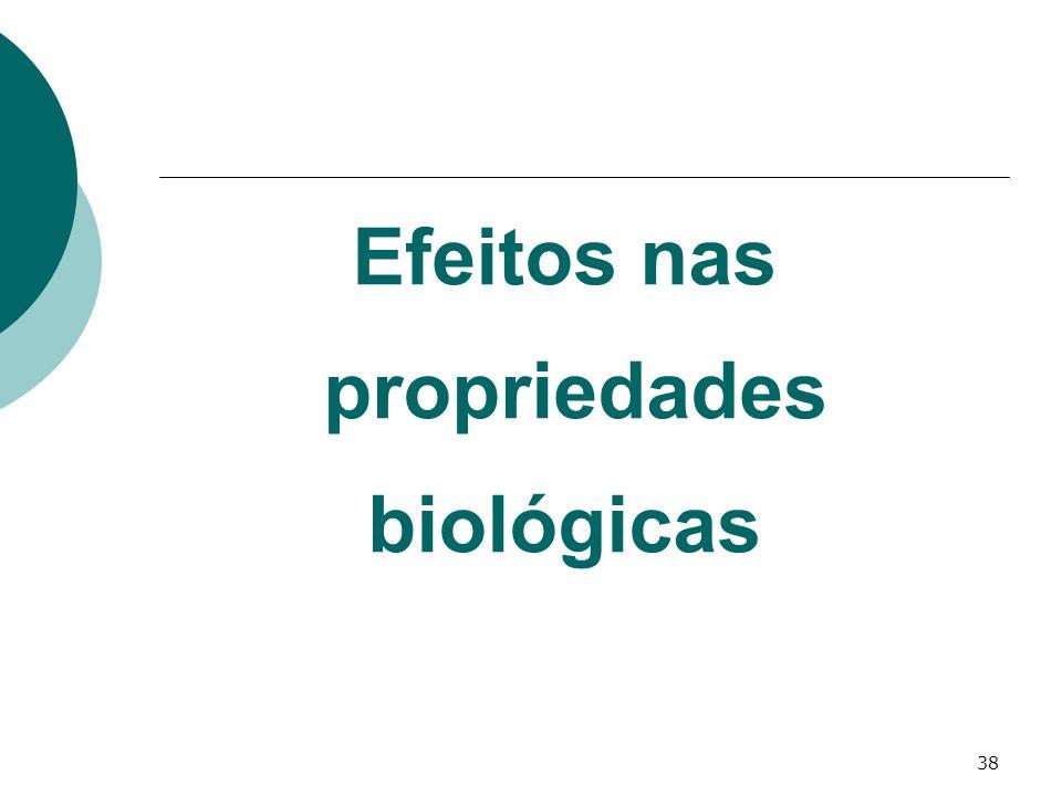 38 Efeitos nas propriedades biológicas