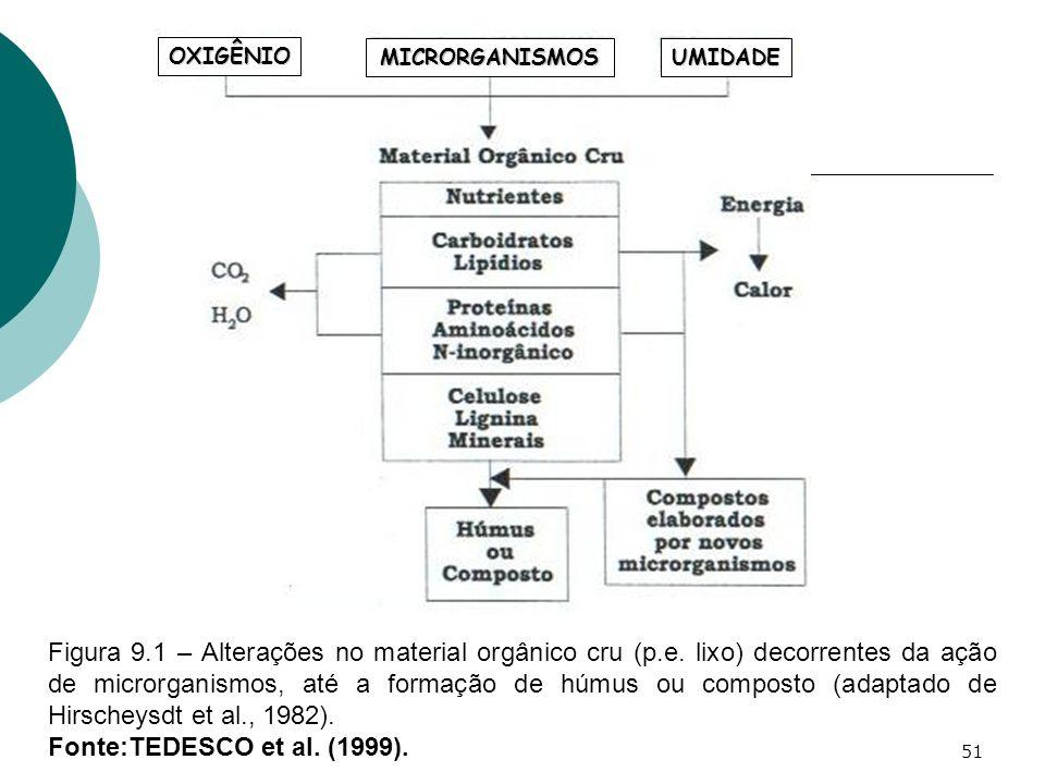 51 Figura 9.1 – Alterações no material orgânico cru (p.e. lixo) decorrentes da ação de microrganismos, até a formação de húmus ou composto (adaptado d