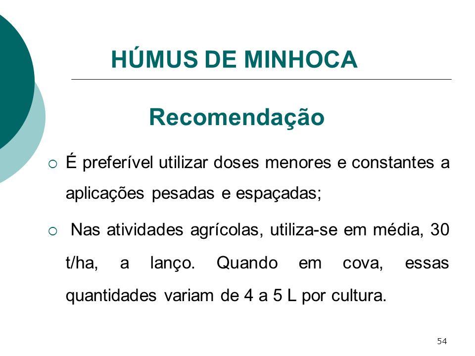 54 Recomendação É preferível utilizar doses menores e constantes a aplicações pesadas e espaçadas; Nas atividades agrícolas, utiliza-se em média, 30 t