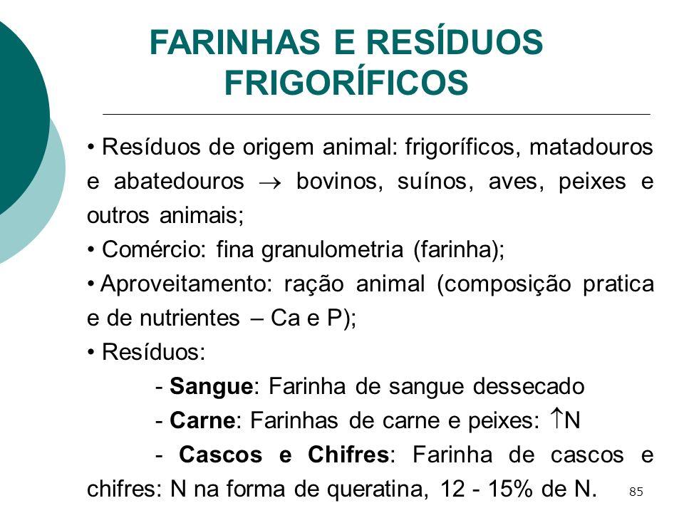 85 FARINHAS E RESÍDUOS FRIGORÍFICOS Resíduos de origem animal: frigoríficos, matadouros e abatedouros bovinos, suínos, aves, peixes e outros animais;