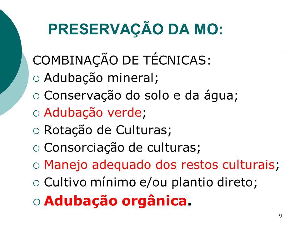 9 PRESERVAÇÃO DA MO: COMBINAÇÃO DE TÉCNICAS: Adubação mineral; Conservação do solo e da água; Adubação verde; Rotação de Culturas; Consorciação de cul
