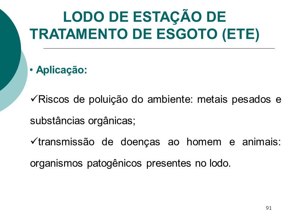 91 LODO DE ESTAÇÃO DE TRATAMENTO DE ESGOTO (ETE) Aplicação: Riscos de poluição do ambiente: metais pesados e substâncias orgânicas; transmissão de doe