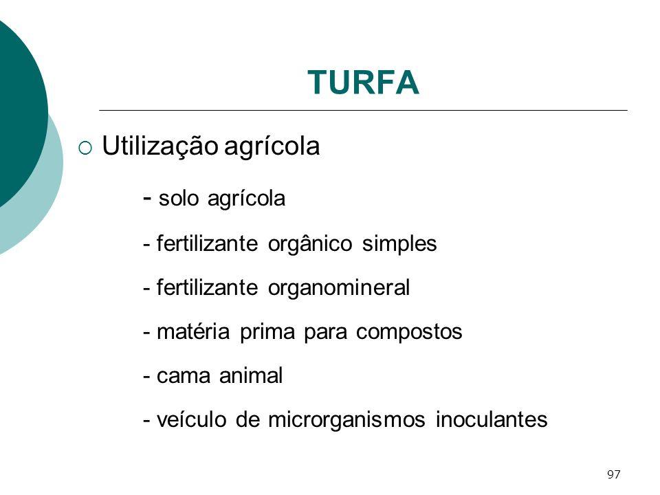 97 TURFA Utilização agrícola - solo agrícola - fertilizante orgânico simples - fertilizante organomineral - matéria prima para compostos - cama animal