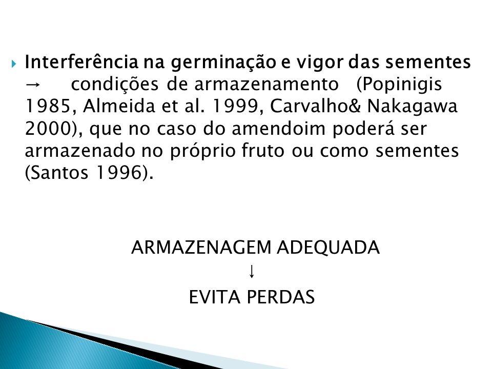 Interferência na germinação e vigor das sementes condições de armazenamento (Popinigis 1985, Almeida et al. 1999, Carvalho& Nakagawa 2000), que no cas