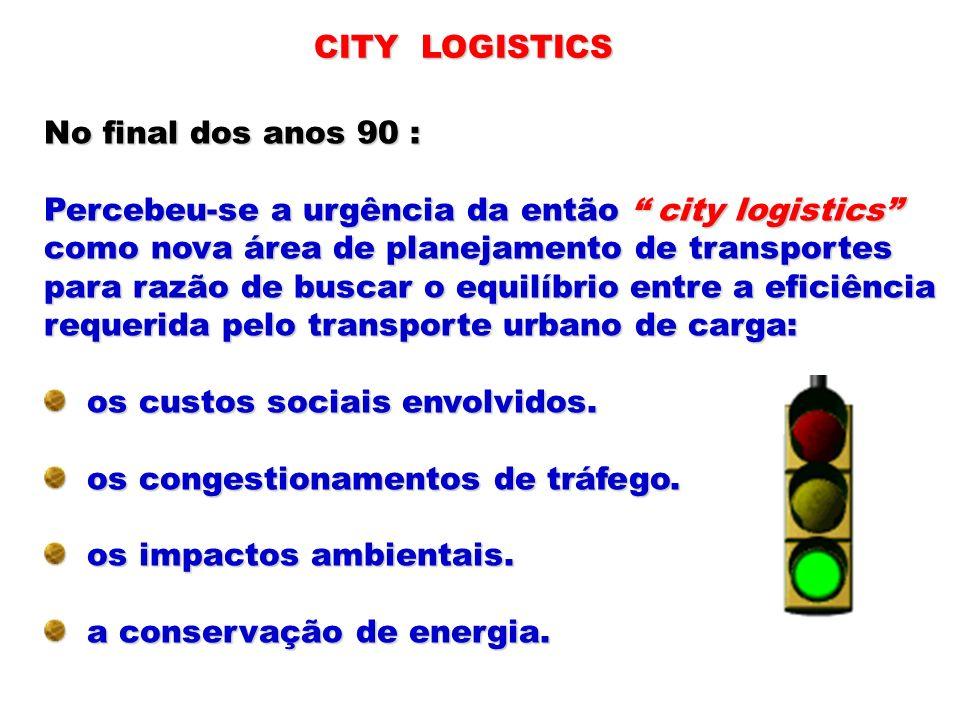 No final dos anos 90 : Percebeu-se a urgência da então city logistics como nova área de planejamento de transportes para razão de buscar o equilíbrio