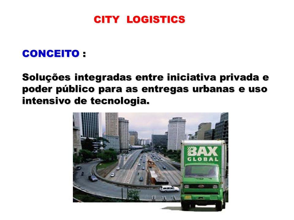 CITY LOGISTICS CONCEITO : Soluções integradas entre iniciativa privada e poder público para as entregas urbanas e uso intensivo de tecnologia.